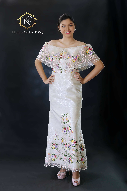Filipiniana Dress Hand Painted And Embroidered Maria Clara