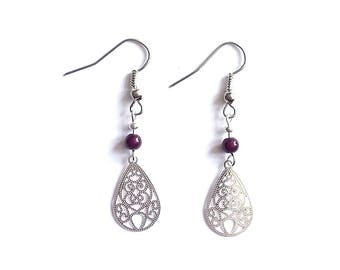 Filigree charm drop earrings
