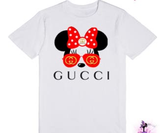 Gucci Minnie Mouse with Aviator Sunglasses T-Shirt Gift | First Birthday Outfit | Designer Inspired | Custom Shirt