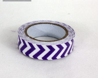 masking tape 15 mm purple chevron cotton