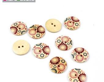Set of 5 buttons round wood 30 mm 4 holes for sewing flower pattern, scrapbooking