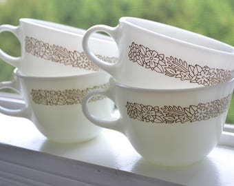 Four Pyrex Teacups, Woodland Brown, 1970s-1980s