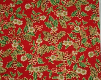 Embroidery of Christmas - red with Holly.