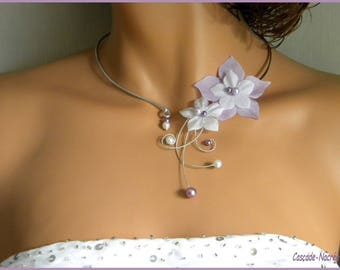 Bridal white purple violet Camille aluminum Pearl bridal silk flower bridal necklace