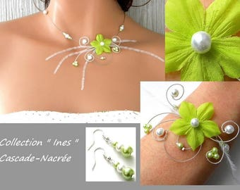 Bridal adornment Ines flower green lime Silver White Pearl wedding