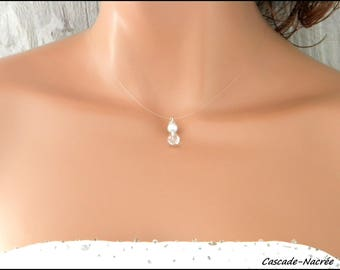 Necklace white nylon Crystal Teardrop bridal aluminum silver Pearl wedding jewelry
