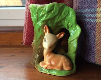 Beautiful Vintage Eastgate Withernsea Pottery Fauna Deer Woodland Vase 1960s
