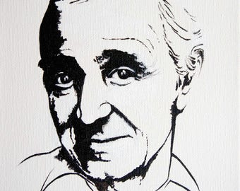 Acrylic paint in black and white – Charles Aznavour