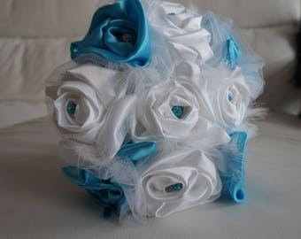 White and turquoise satin fabric bridal bouquet