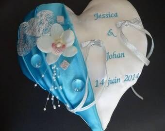 heart shape turquoise wedding ring cushion