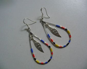 novelty earrings hoop drop Native American beaded and filigree leaf