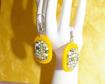 Earrings mosaic oval yellow polymer clay