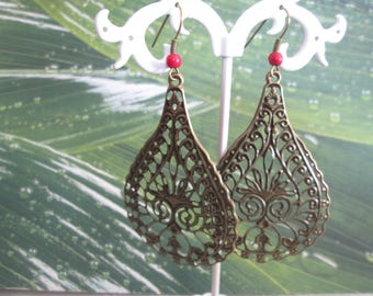 earring drop print bronze and red turquoise bead