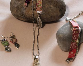 Set of necklace, bracelet and earrings and necklace * tassel girl *.