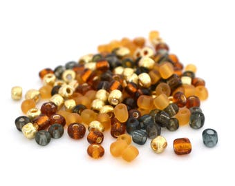 10 gr large 6/0 seed beads golden brown, orange, gold and gray glass 4mm / MPERRO033