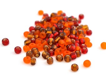 10 g large seed beads 6/0 brown red orange glass 4mm / MPERRO029