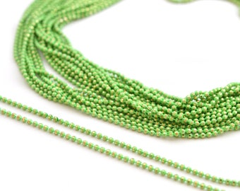 chain 50cm 1.2 mm metal green and gold beads