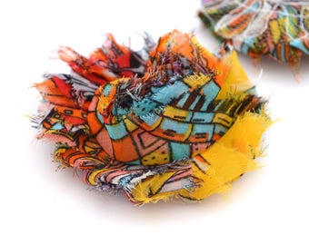 Yellow fabric flower, orange multicolored style African 6cm, sew or glue