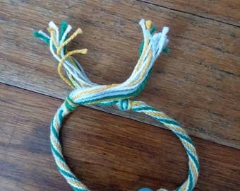 Light Blue, White, Golden Yellow Friendship Bracelet