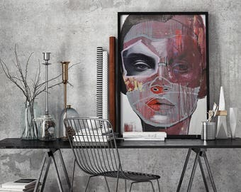 Abstract-Portrait painting #002 // Fineartprint on Highquality paper
