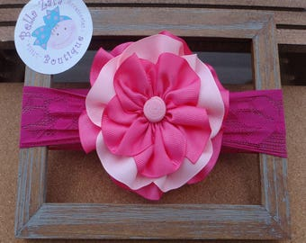 Pink flower lace headband