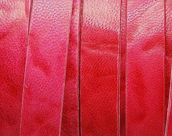 Leather 1st quality - red, faded effect - 13x2mm - Made in EU - sold by 20cm