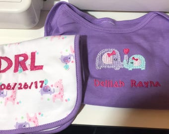 Newborn gown & matching burp cloth
