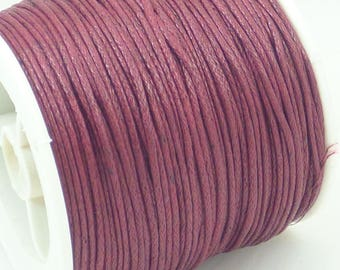 5 m of Burgundy 1 mm waxed cotton cord