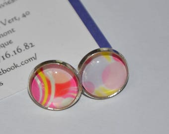 Earrings chips cabochon, asymmetric pale yellow, pink and purple, sweet bubbles.