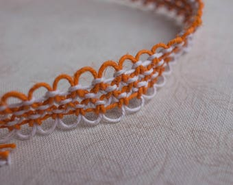 18.5 inch white and orange hemp necklace