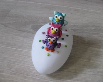 night light with three adorable little colorful owls baby