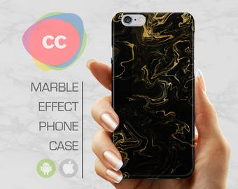 Black Gold Marble - iPhone 8 Case - iPhone 7 Case - iPhone X, iPhone 8 Plus, 7, 6, 6S, 5S, SE Cases - Samsung S8, S7, S6 Cases - PC-330