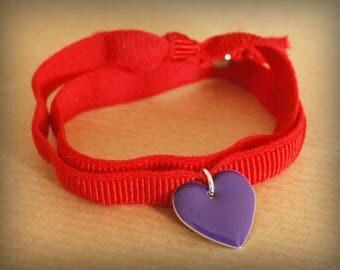 Ribbon & purple heart bracelet
