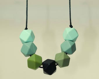 Teething necklace Forest silicone beads