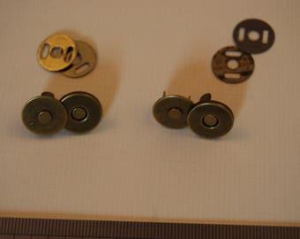 Lot de 2 boutons aimantés hooks 14 mm bronze