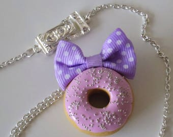 Pink icing Donut necklace and bow