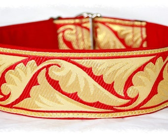 "Dog collar ""Tale of leaf"" Jacquard ribbon in unique colourful ""Imperial"" style Pet Jewellery"