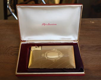 1940s Elgin American Lite-O-Matic Cigarette Case with Attached Lighter with Original Box and Pouch
