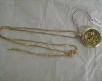Gold Leaf Locket Necklace