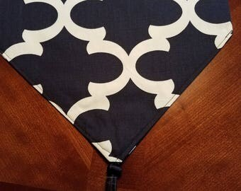 Navy Blue and White Table Runner/Dresser Scarf