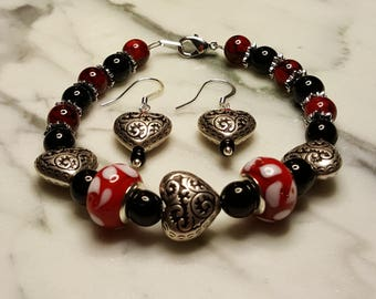 Red and Black Heart Bracelet with matching Earrings