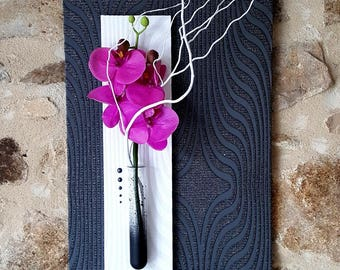 Floral painting black and white Orchid purple
