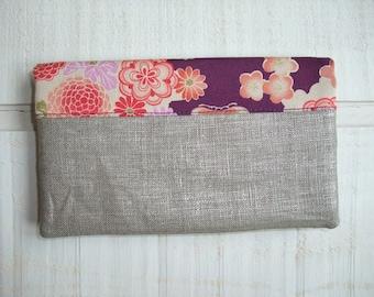 Checkbook - silver & Japanese linen fabric purple