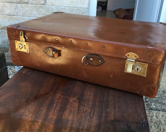 Military issue leather suitcase