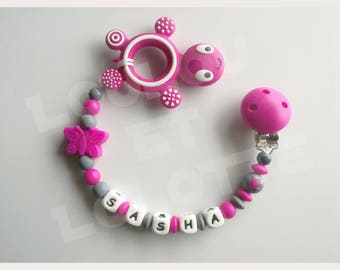 Soother/pacifier personalized silicone + teether/model Sasha ring