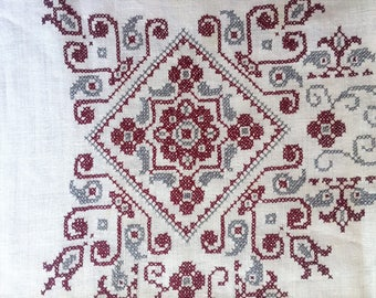 Hand Embroidered, Vintage Tablecloth in Gray and Brick Red