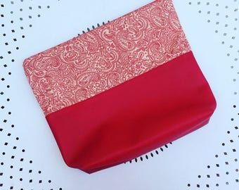 Toilet bag with apples and Red leatherette