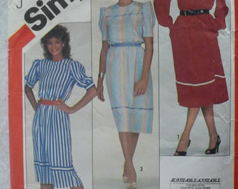 Women's or Misses' Pullover Dress Pattern, Vintage Simplicity 5838, Size 10 - 14