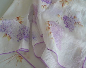"""Vintage Silk Scarf, White and Mauve, Approx 29"""" x 29"""""""