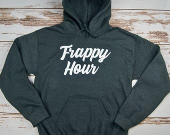 Frappy Hour, Coffee Lover, Funny Coffee Shirt, Coffee Sweatshirt, Christmas Gift, Fast Shipping, Customizable